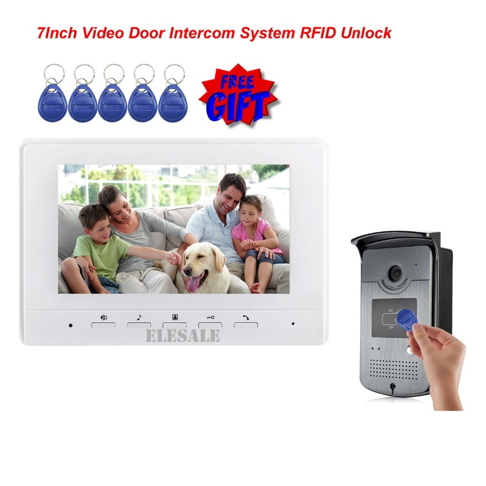 FREE SHIPPING 7 Video Intercom Door Phone System With 1 White Monitor 1 RFID Card Reader HD Doorbell Camera 4-Wire In Stock free shipping brand new 7 home video intercom door phone system with recording monitor rfid card reader door camera wholesale
