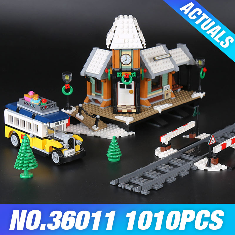 Lepin 36011 Genuine Creative Series The Winter Village Station Set 10259 Building Blocks Bricks Toys Educational Christmas Gifts lepin 36010 genuine creative series the winter village market set legoing 10235 building blocks bricks educational toys as gift