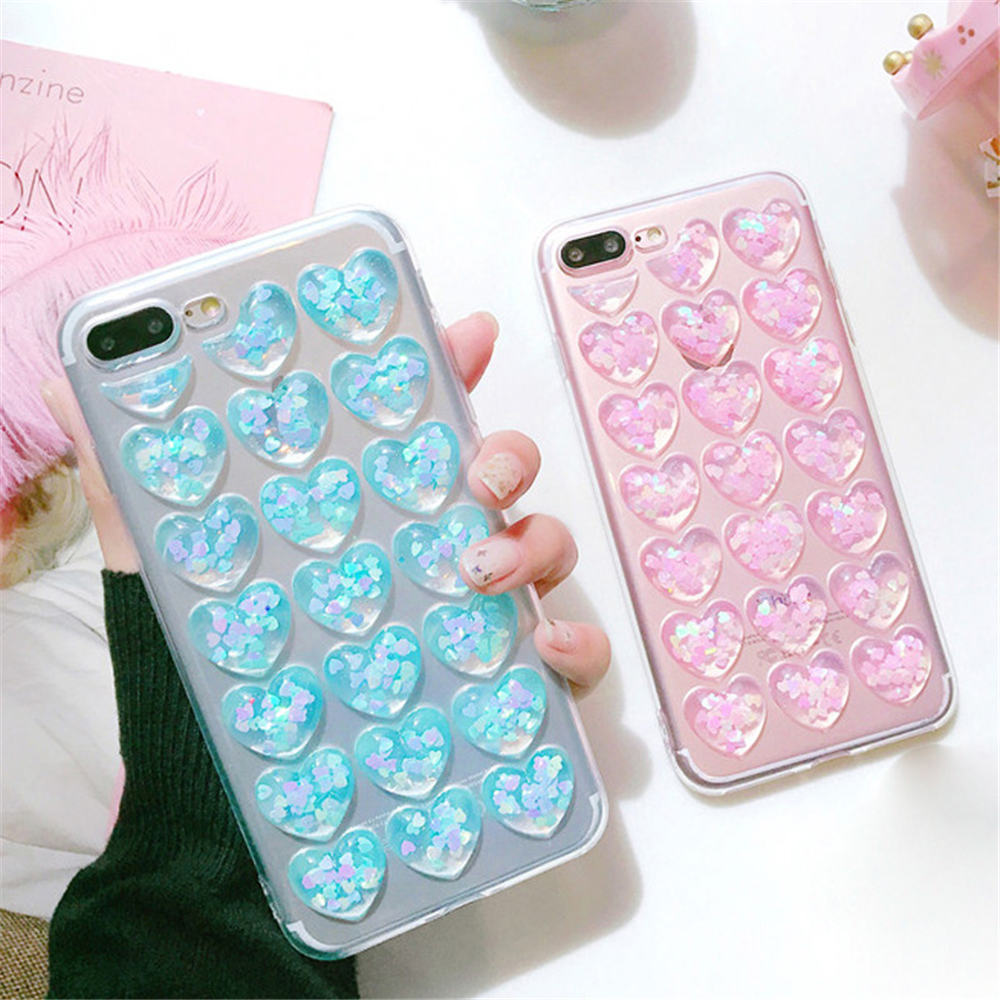 HTB1a7WPFL1TBuNjy0Fjq6yjyXXaD - Ottwn 3D Love Heart Clear Phone Case For iPhone 11 Pro Max XS XR X 8 7 6 6s Plus 5 5s SE Bling Sequin Transparent Soft TPU Cover