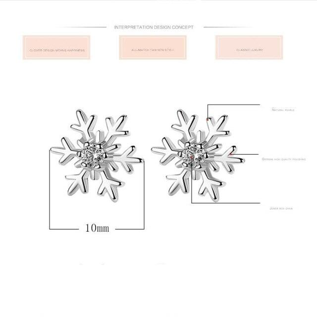 Женские серьги гвоздики в виде снега с цирконом
