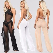 Black/White/Nude See Through Mesh Bodycon Jumpsuits Sexy Night Out Club Wear Halter Neck Backless Ruffles Details Mesh Jumpsuits(China)