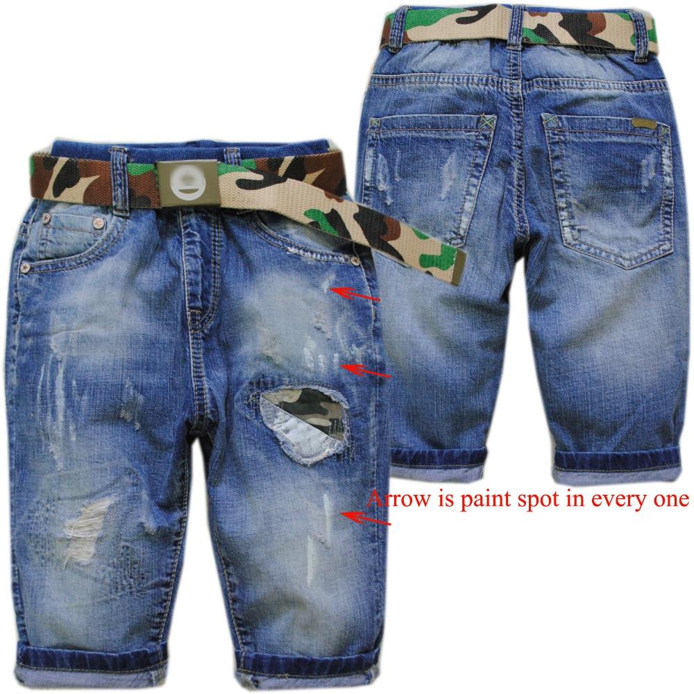 4048 70% de longitud agujero suave pantalones cortos de mezclilla - Ropa de ninos
