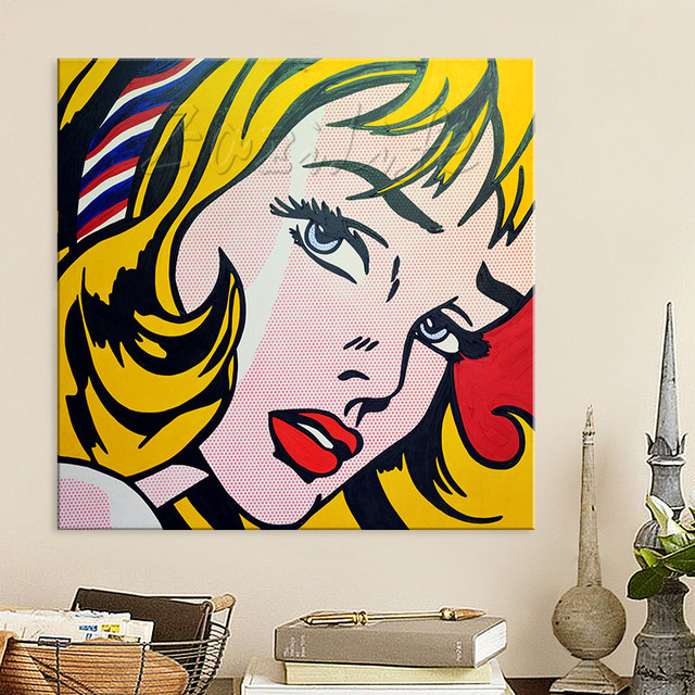 Lichtenstein Pop Art Cartoon Oil Painting On Canvas Caudros Decoracion Wall Picture For Living Room