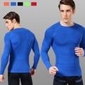 Sob a Cor Pura Ginásio Calças De Fitness Homens Camiseta Esporte Armadura Homens Camisas De Compressão Ginásio Camisas de T 1300