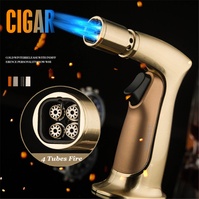 4 Nozzles Fire Pipe Lighter Butane Jet Torch Cigar Gas Free Windproof Spray Gun For Outdoor Kitchen BBQ 1300 C