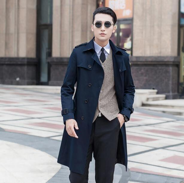 55d41c6e428 Black blue beige plus size 9XL spring autumn mens long trench coat men  fashion casual fashion double-breasted youth jacket men