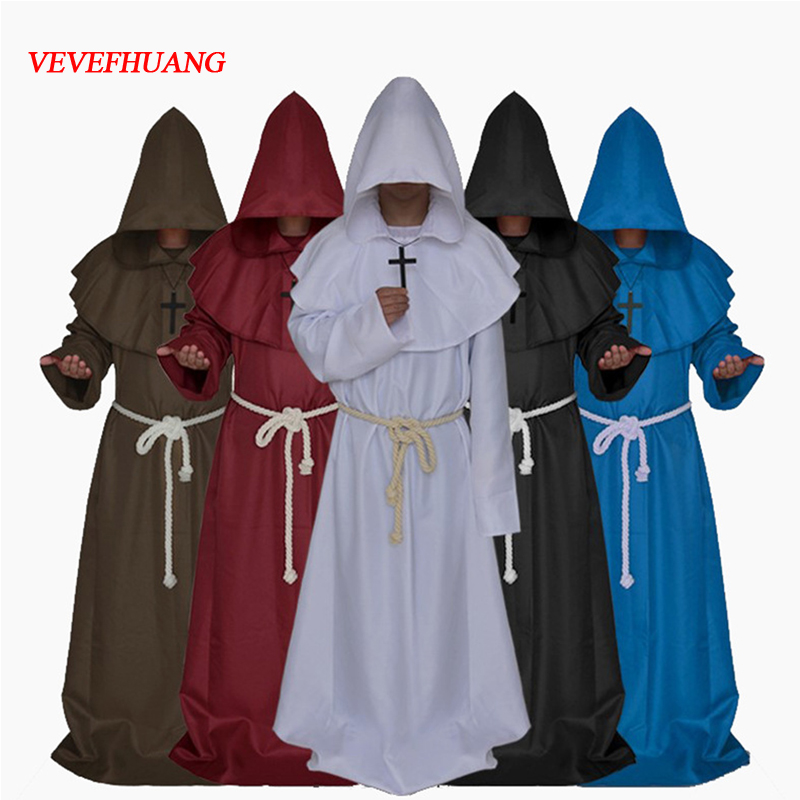 VEVEFHUAN Original Mens Church Medieval Renaissance Priest High Priest Monk Druid 5 Color Cosplay Costume Halloween Robe Cloak