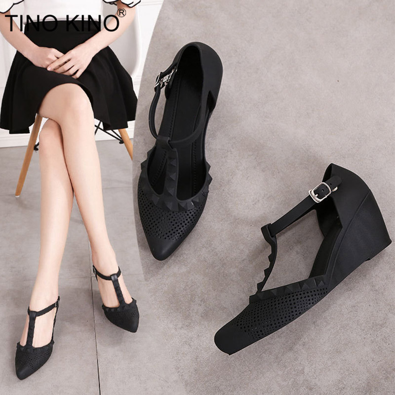 Women T Strap Wedge Autumn Pumps Buckle Pointed Toe Rubber Jelly Shoes Ladies Hollow Out High Heel Fashion Female Shoes New