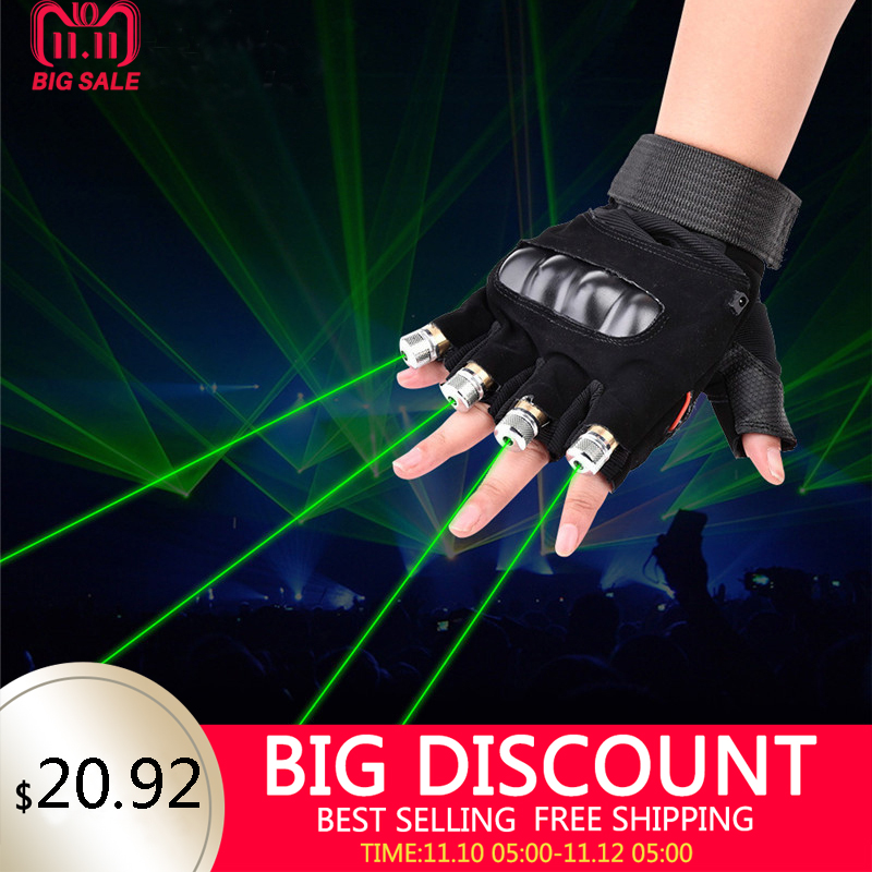 Novelty LED Laser Gloves Green Red LED Bulb With Battery Dance Show Finger Gloves Laser For Disco Music Party Stage Lighting green laser gloves finger lights glowing rave gloves for halloween costume christmas dance party birthday