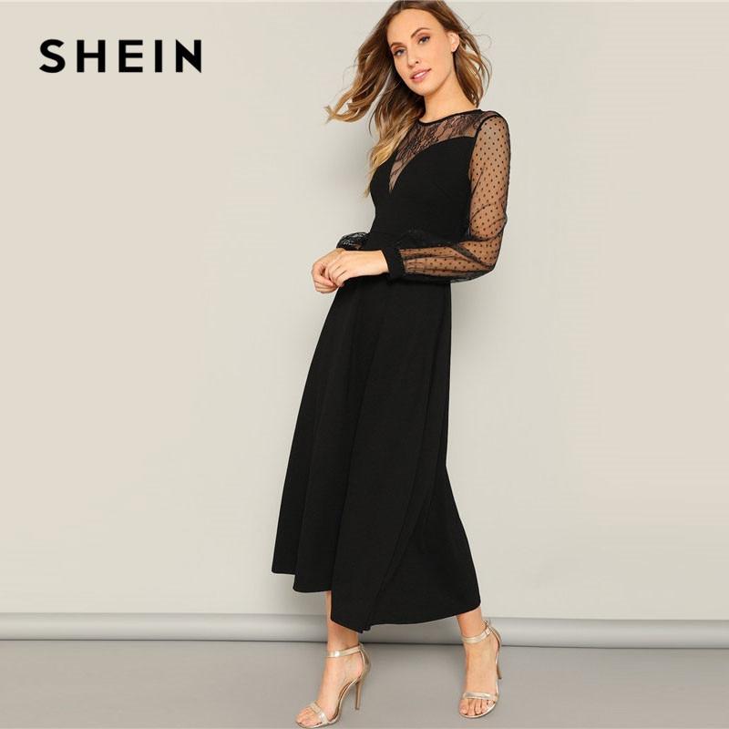 Image 3 - SHEIN ドットメッシュスリーブレースの恋人 A ライン黒ロングドレス春女性ビショップスリーブエレガントなマキシドレスの女性のパーティードレス    グループ上の レディース衣服 からの ドレス の中