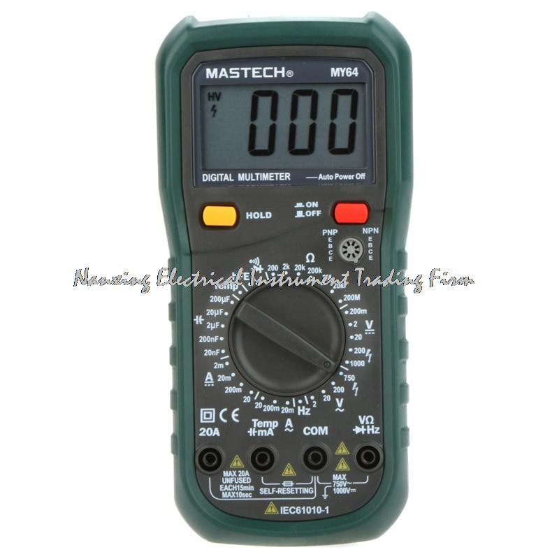 MASTECH MY64 Digital Multimeter AC / DC DMM Frequency Capacitance Temperature Meter Tester w / hFE Test Ammeter Multimetro new ms8221c digital multimeter auto manual ranging dmm temperature capacitance hfe tester