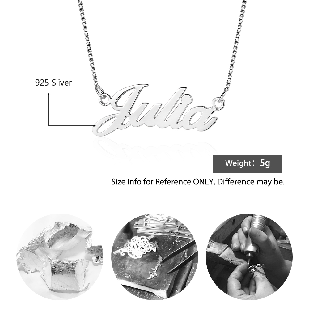 925 Sterling Silver Personalized Nameplate Letter Necklace Custom Made Name Pendant Russian Name Christmas Gifts for Girlfriend