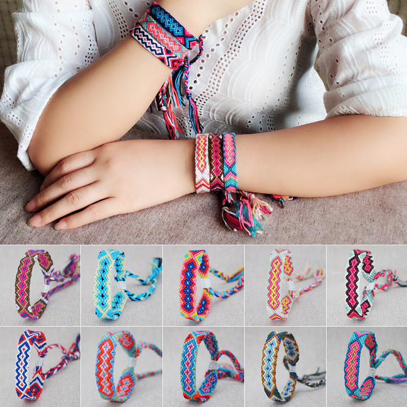 12 Style Ethnic Pattern Bohemian Hand Woven Braided Bracelets For Women Vintage Original Colorful Elastic Rope Charm Bracelet