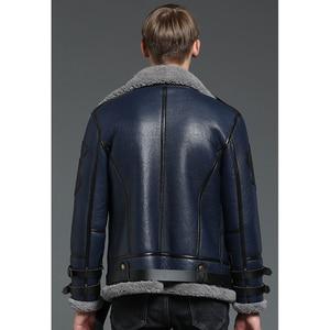 Image 3 - New Genuine Sheep Shearling Jacket Young Man real Sheep Skin Coat Male Winter Jacket Blue Men Fur Gentlemen Casual Overcoat
