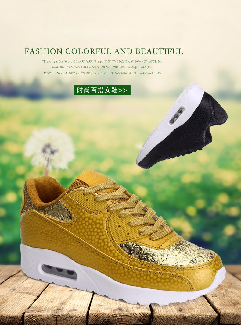 Fashion KUYUPP Wedges Women Trainers Breathable Sport Sequined Cloth Casual Shoes Outdoor Walking Shoes Zapatillas Mujer YD36 (3)