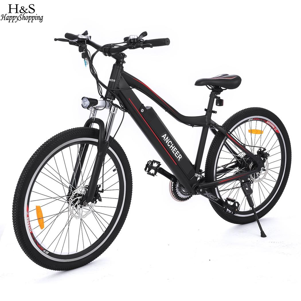 ANCHEER 26inch Electric Bike Mountain Bike with 36V 12A Lithium Battery Aluminum Alloy Electric Mountain Bicycle for Outdoor liitokala 36v 6ah 8ah 10 500w 18650 lithium battery 36v 8ah electric bike battery with pvc case for electric bicycle