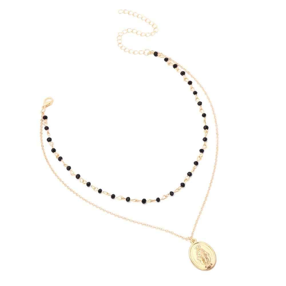 Богемное Золотое серебряное ожерелье с черными бусинами, многослойное ожерелье, Иисус, Дева Мария, цепочка с кулоном, ожерелье для женщин, подарок, ювелирное изделие, новинка 2019