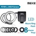 Fc100 meike led macro ring flash light para canon 450d 500d 550d 600d 650D 700D 1100D 7D 6E 5D Mark II & Câmera Digital SLR Da Nikon