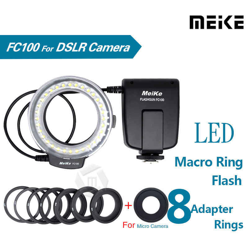 Meike FC100 LED Makro Ring Flash Light til Canon 450D 500D 550D 600D 650D 700D 1100D 6D 7D 5D Mark II og Nikon Digital SLR-kamera