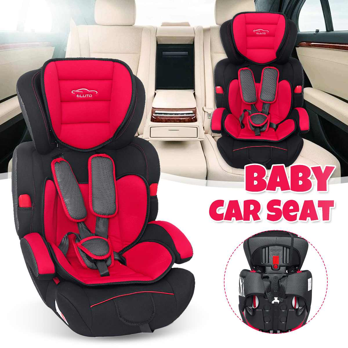 3 couleurs réglable bébé siège de sécurité pour fauteuil 9-36 KG groupe 1/2/3 cinq points harnais bébé rehausseurs sièges 9months-12years