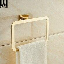 Золотое кольцо для полотенец хромированные аксессуары для ванной комнаты украшения Элегантный квадратный стиль