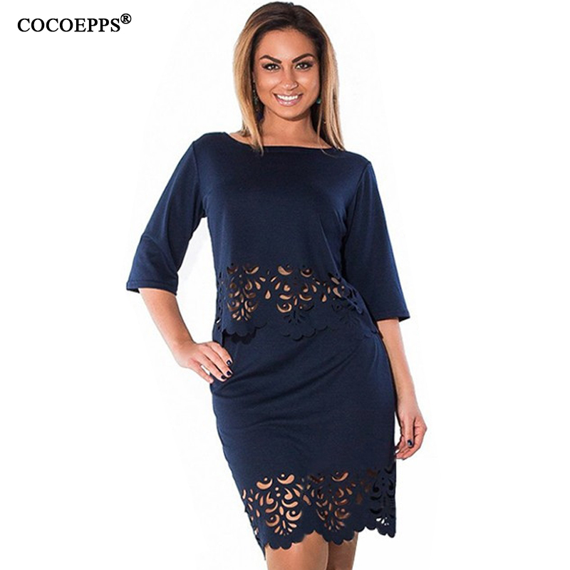 Women Plus Size dress summer o-neck half sleeve dresses Elegant Sexy bodycon Dress hollow out women clothing L-6xl Free shipping