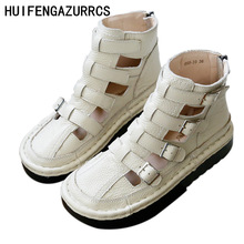 HUIFENGAZURRCS-Pure handmade  breathable sandals,the retro art mori girl Flats shoes,leather thick bottom cool Rome style boots