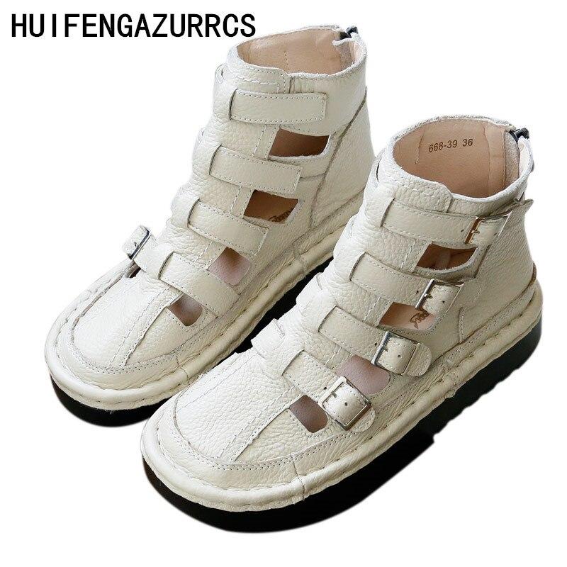 Ayakk.'ten Orta Topuklu'de HUIFENGAZURRCS Saf el yapımı nefes sandalet, retro sanat mori kız Flats ayakkabı, deri kalın alt serin Roma tarzı çizmeler'da  Grup 1