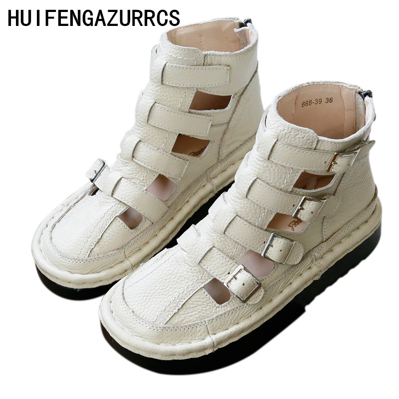 Huifengazurrcs 순수한 수제 통기성 샌들, 레트로 아트 모리 걸 플랫 슈즈, 가죽 두꺼운 바닥 쿨 로마 스타일 부츠-에서중 힐부터 신발 의  그룹 1