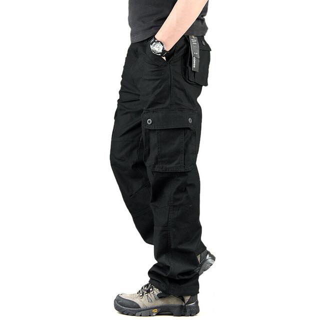 Calças da Carga Dos Homens de alta Qualidade Casual Mens Militar Global para Os Homens Ao Ar Livre de Multi Bolso Da Calça Calças Compridas Plus Size 30-44