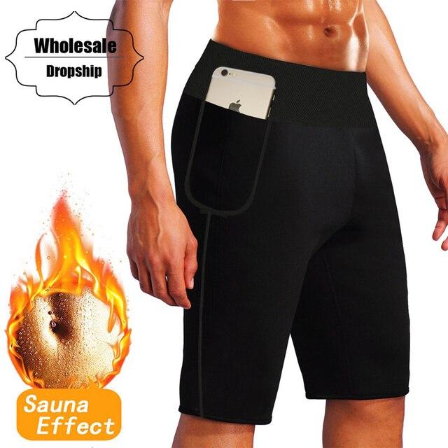 cb04cdd4c0fdc NINGMI Mens Fitness Short High Waist Trainer Tummy Control Panties Neoprene  Hot Sweat Sauna Body Shaper Capris Tight with Pocket