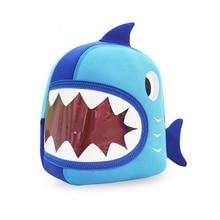 Водонепроницаемый Школьные Сумки Синий 3D Shark Дети Детские Сумки Мультфильм Животных Дети Школьные Сумки Для Девочек Мальчиков