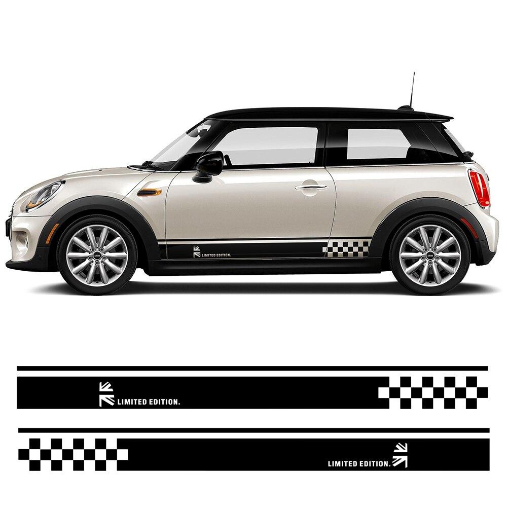Car Styling Side Bande Jupe Décalque Union Jack Drapeau Autocollants pour MINI Cooper R50 R52 R53 R56 R57 R58 R59 f55 F56 F54 F60 R60 R61