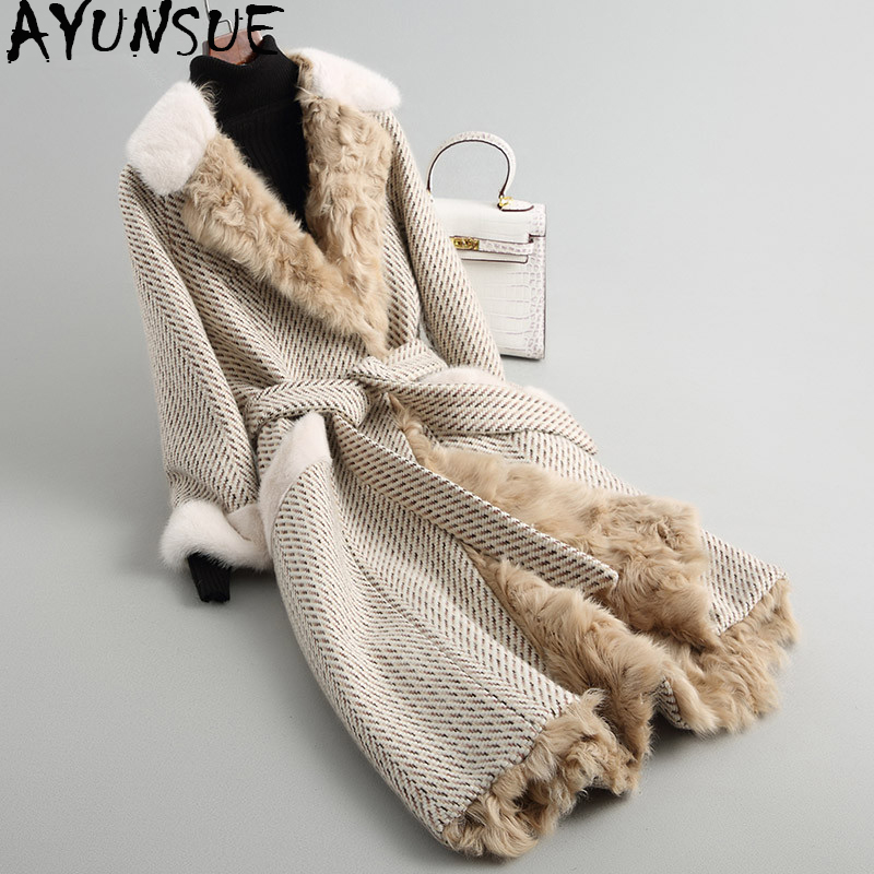 AYUNSUE 2019 Women's Fur Coat Long Tweed Wool Blends Winter Jacket Women Natural Mink Fur Collar Real Lamb Fur Coats 68214