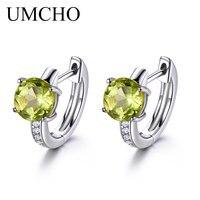UMCHO 2 0ct Natural Peridot Clip Earrings For Women Genuine 925 Sterling Silver Earrings Female Fine