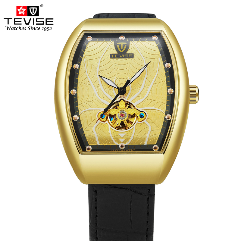 TEVISE Fashion Automatic Mechanical Watches Men Leather Self Wind Watch Business Luminous Spider Dial Wristwatch Male Clock T815 купить дешево онлайн
