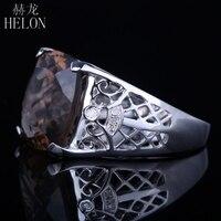 Helon 925サーリングシルバークッション14ミリメートルx 12ミリメートル8.8ct本物スモーキークォーツ天然ダイヤモンドの婚約結婚式細かいリング卸