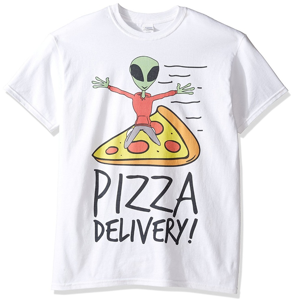 Mens Pizza Delivery Alien T-Shirt Fashion Men T Shirt Clothing Printed Cotton Men o Neck Top