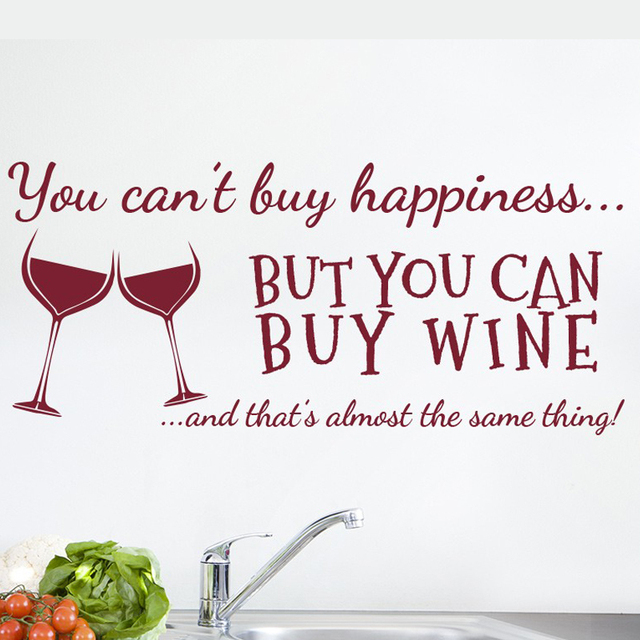 You Canu0027t Buy Happiness Wine Wall Art Stickers Funny Bar Pub Vinyl Wine  Decoration