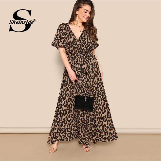 Sheinside Plus Size V Neck Wrap Party Dress Women 2019 Summer Flounce Sleeve Maxi Dresses Ladies High Waist Belted A Line Dress 1