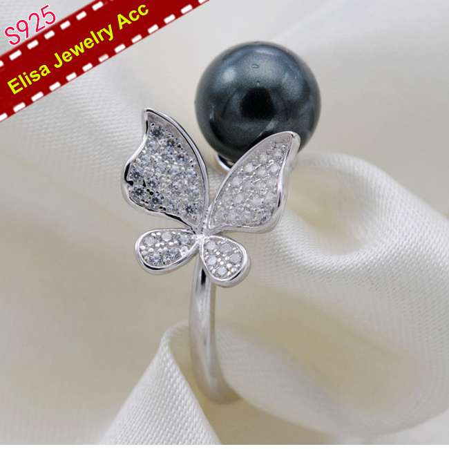 Luxury Shinning Butterfly Pearl Rings Settings S925 Sterling Silver Open Adjustable Pearl Rings Components 3Pcs LOT