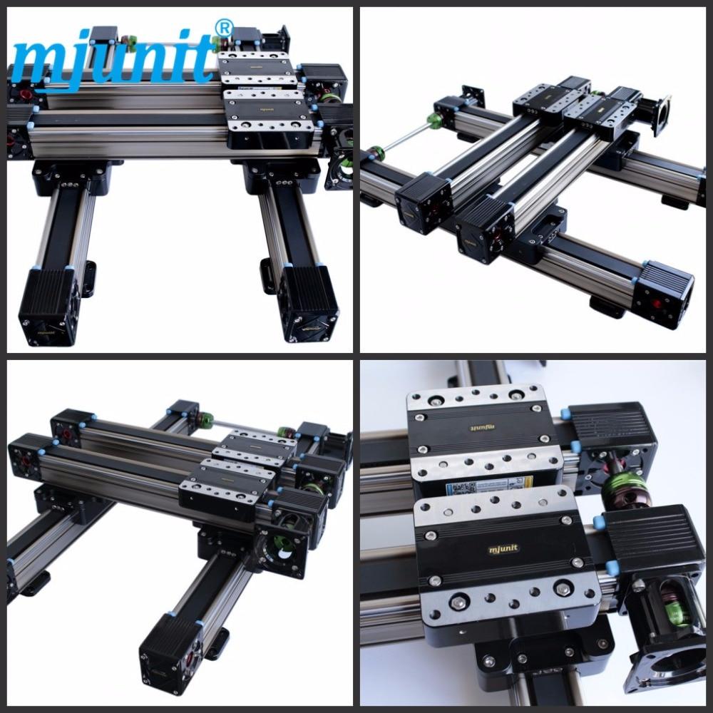 Mjunit MJ60 X Y Linear Actuator High Moving Speed Belt Driven Guile Rail CNC Linear Slide Rail belt driven linear slide long travel distance guideway linear actuator