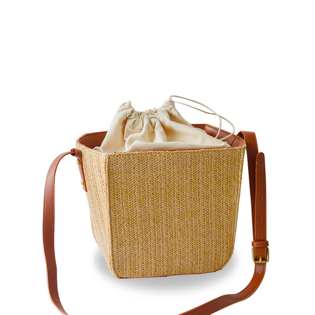 Модные летние соломенные ткань женские сумки на ремне коробка Форма Дизайн ведро Посланник пляж торгового обед сумки корзины леди BA154