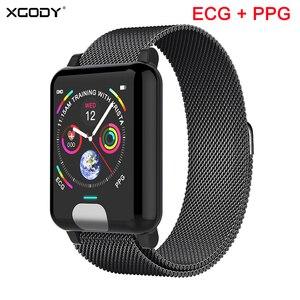 Image 1 - XGODY E04 ECG + PPG Bracelet intelligent moniteur de fréquence cardiaque Tracker de Fitness bande intelligente montre de tension artérielle bracelets pour IOS Android
