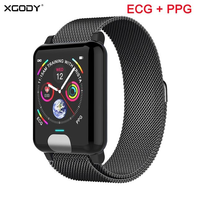 XGODY E04 ECG + PPG Bracelet intelligent moniteur de fréquence cardiaque Tracker de Fitness bande intelligente montre de tension artérielle bracelets pour IOS Android