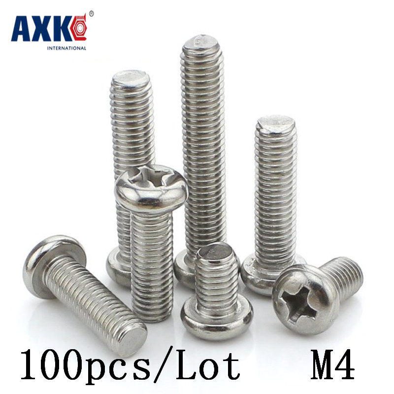 Axk 100pcs/lot Gb818 <font><b>M4x25</b></font> Mm M4*25 Mm 304 Stainless Steel Phillips Cross Recessed Pan Head Screw image