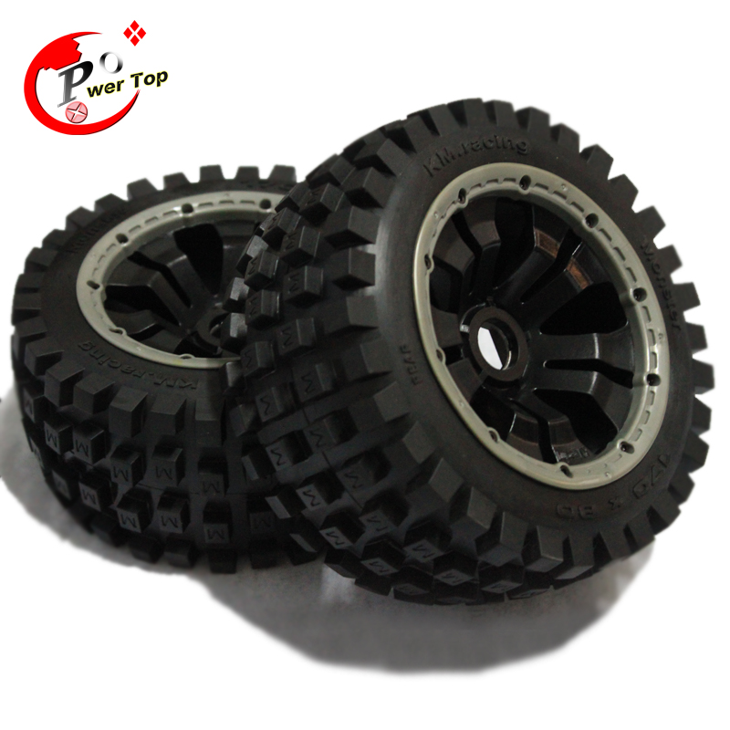 King Motor Baja Monster tire rear completed set with poision rim for HPI BAJA 5B Parts Rovan king motor baja front hydraulic brake system for hpi baja 5b parts rovan free shipping