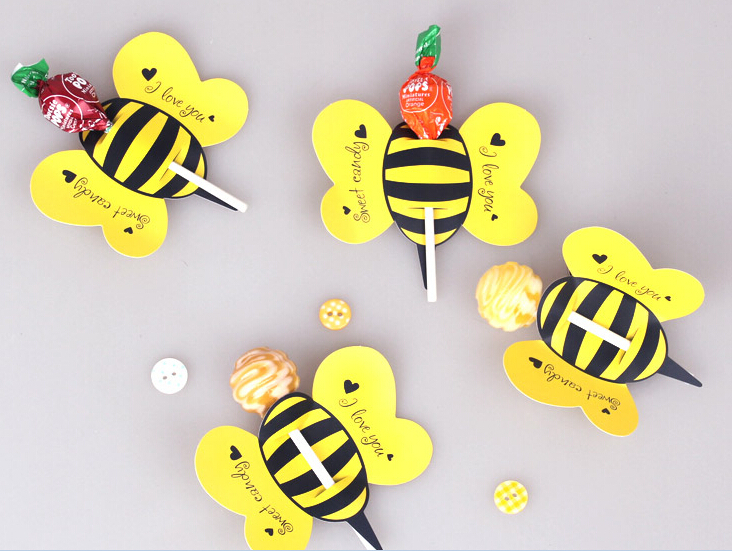 Creative Vivid Animal Small Bees Lollipop Decorative Paper Card Handmade Lolly Pop Candy Free Shipping In Banners Streamers Confetti