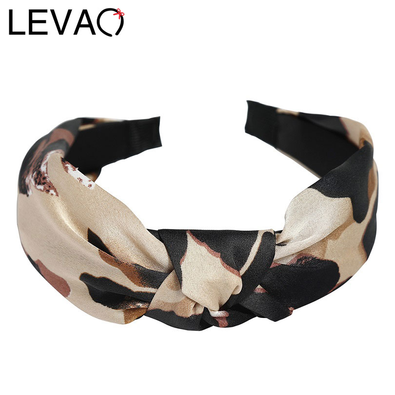 LEVAO Korean New Women Vintage Leopard Soft Knotted Hairband Bezel Turban Headband For Women Hair Hoop Hair Accessories Headwear