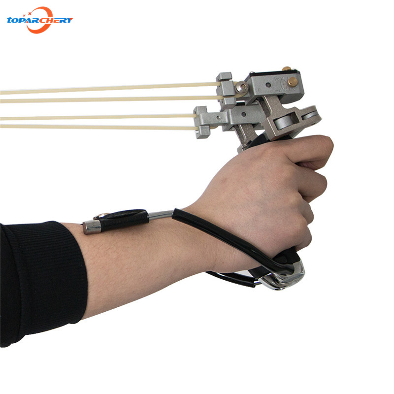 lase Slingshot hunting fishing Powerful Wrist Brace Support Shot Aluminium Alloy Slingshot Outdoor Hunt Hike Bow Catapult